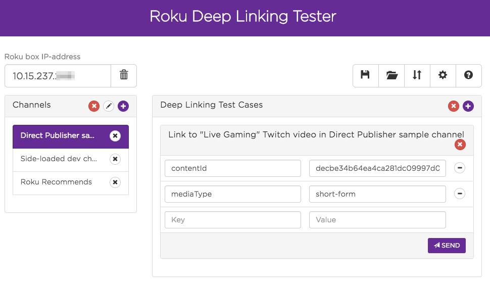 Screenshot of the Deep Linking Tester Tool web UI