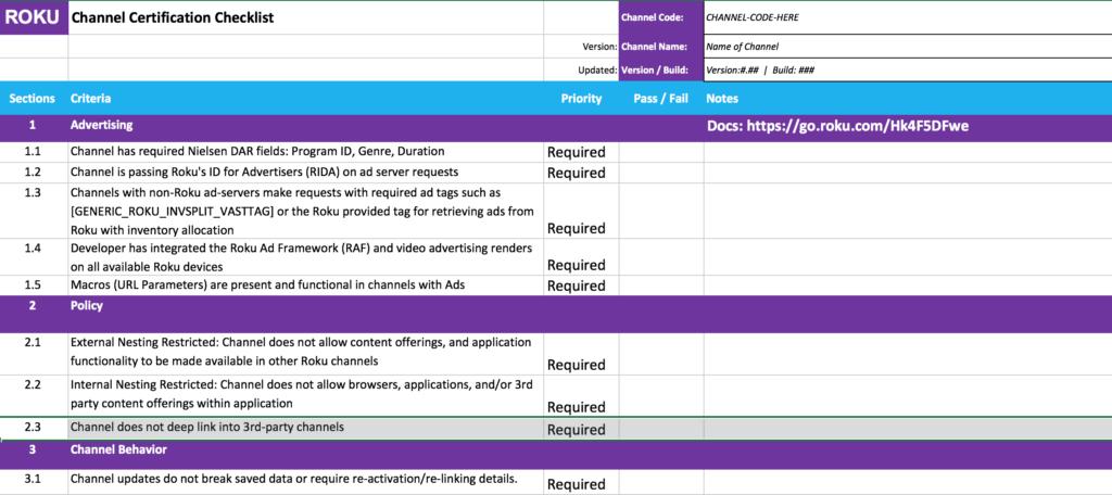 Certification checklist v3