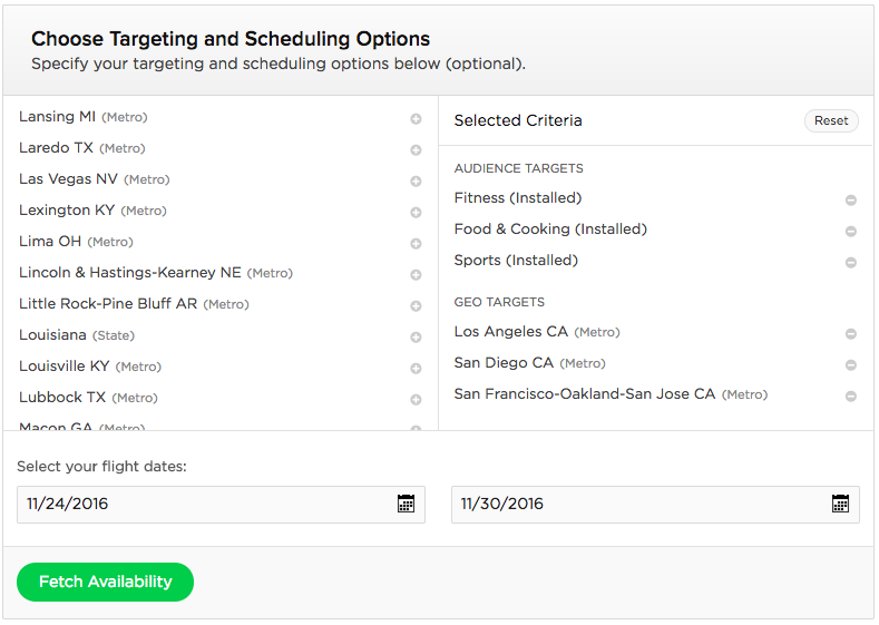 Targeting and Scheduling Options — Self Serve