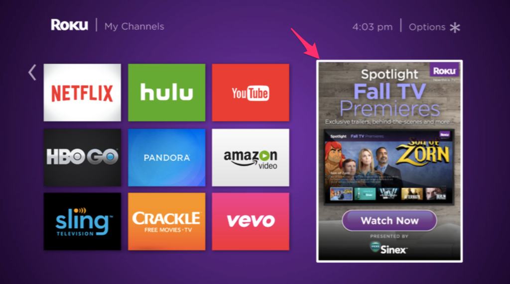 Example of a display ad on the Roku homescreen