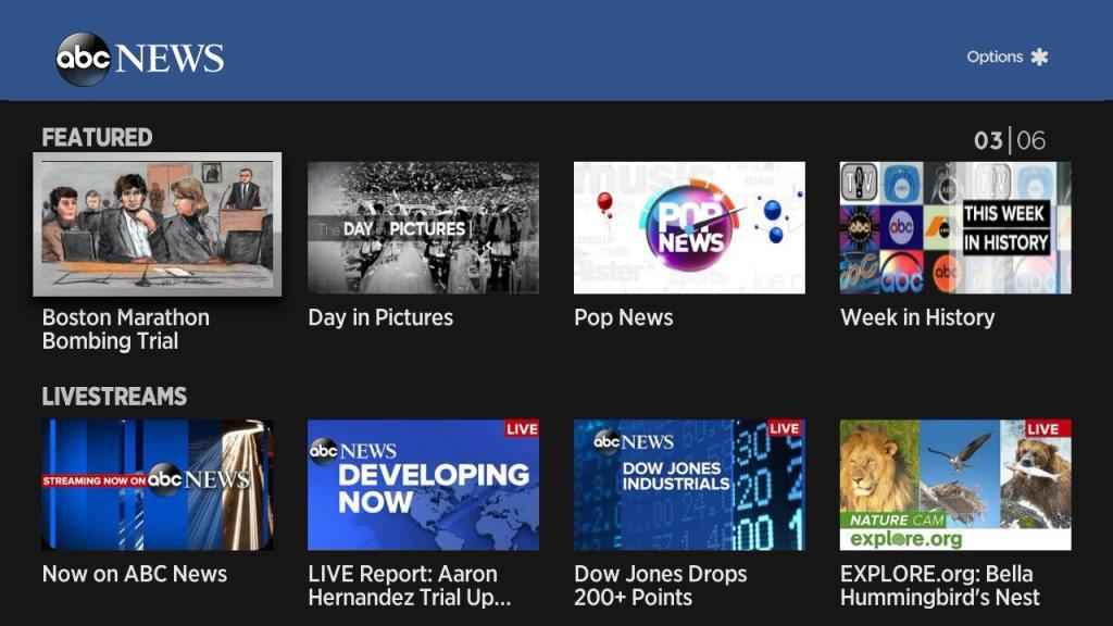 ABC News Roku home screen