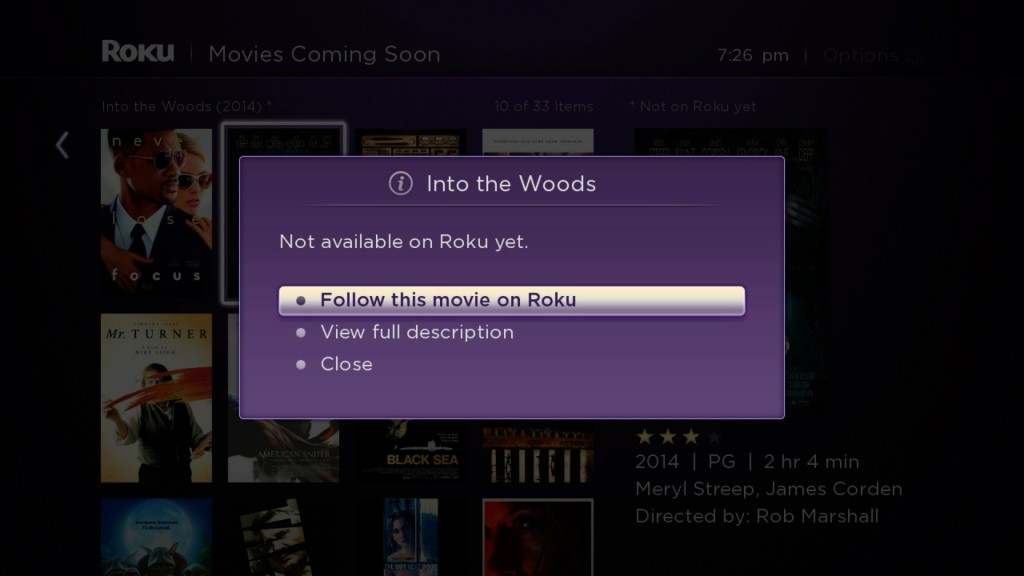 Roku Feed follow this movie