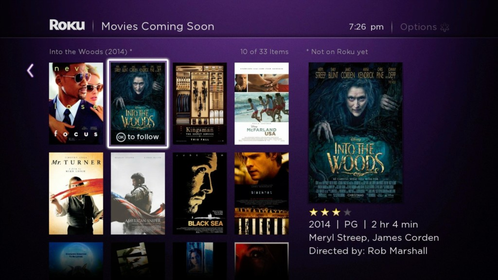 Roku Feed movies coming soon follow