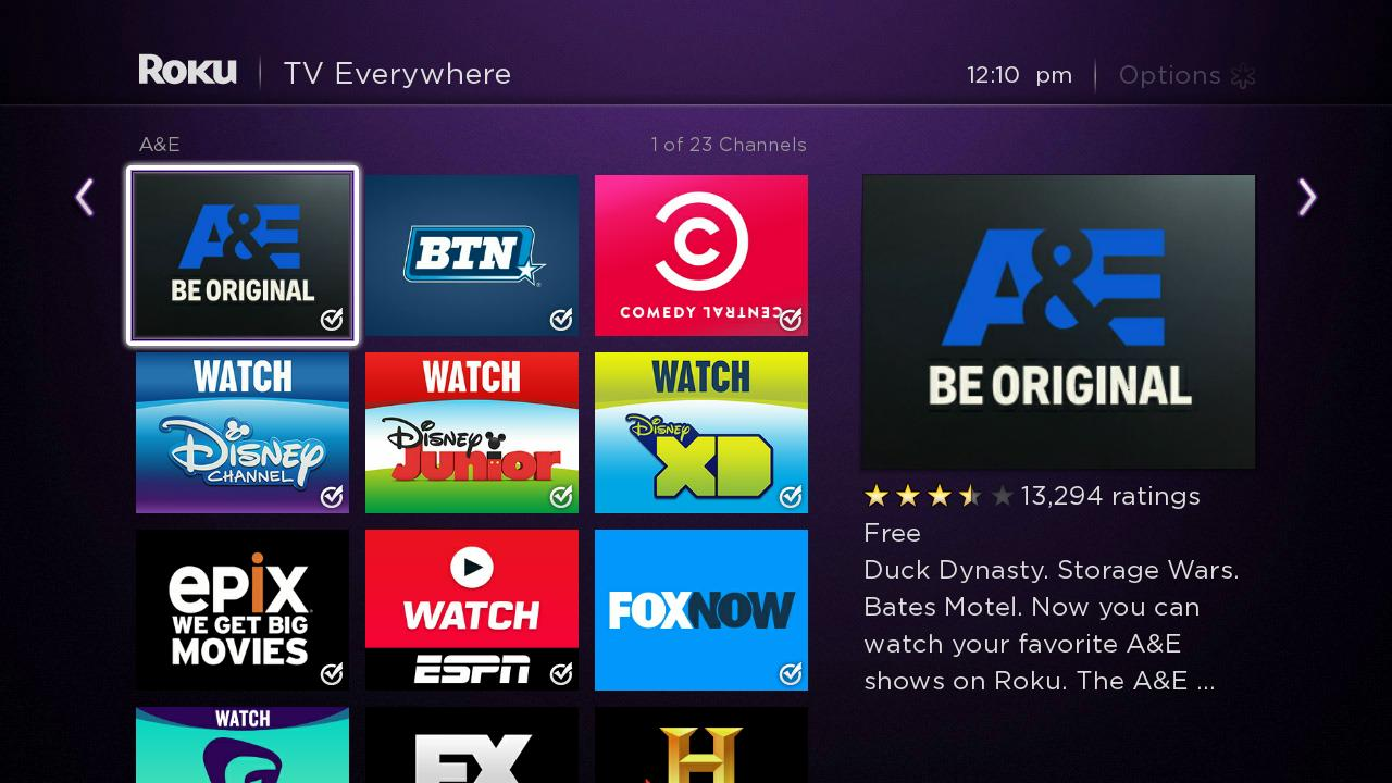 here are all of the tv everywhere channels in the roku channel store