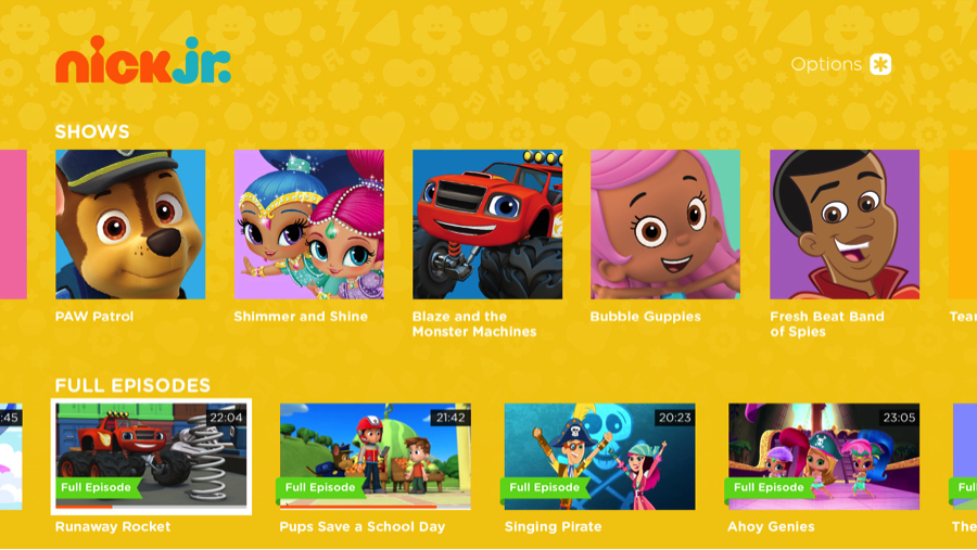 Nick Jr Roku home screen