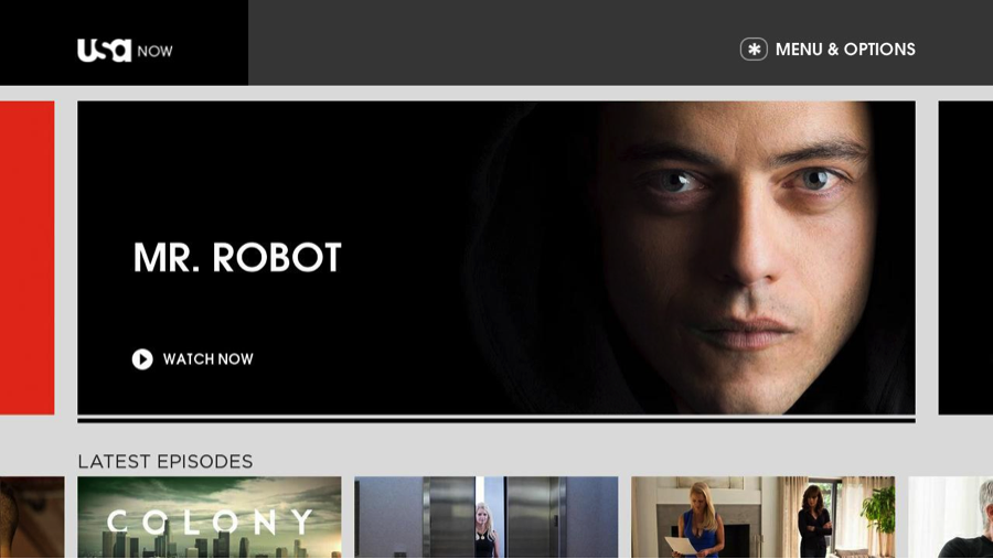 USA Now Roku home screen Mr Robot