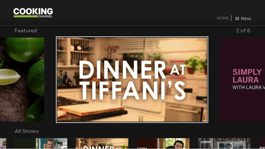 Cooking Channel Roku home screen