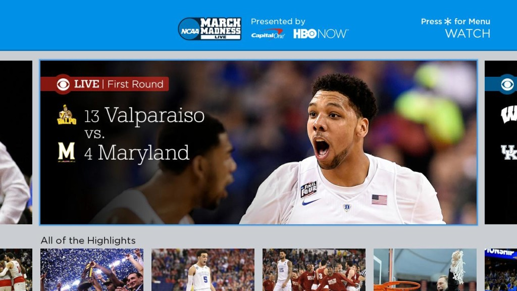 March Madness Roku home screen