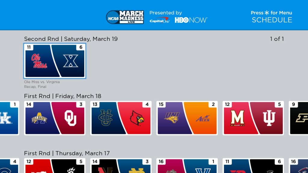 March Madness Roku schedule