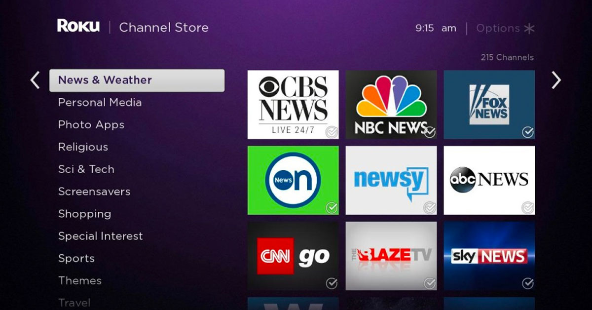 Free news channels on the Roku platform