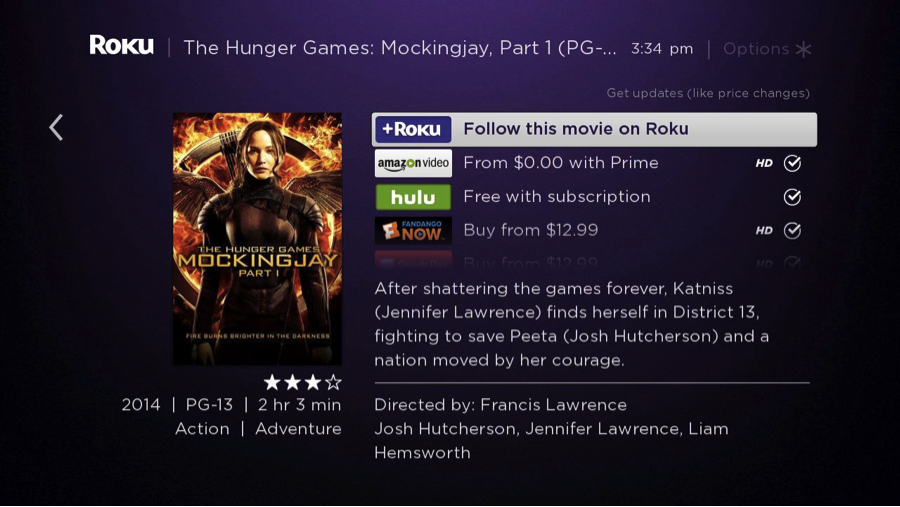 The Hunger Games Roku Search