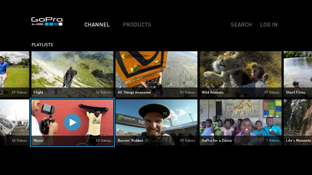 GoPro Music Roku Home Screen
