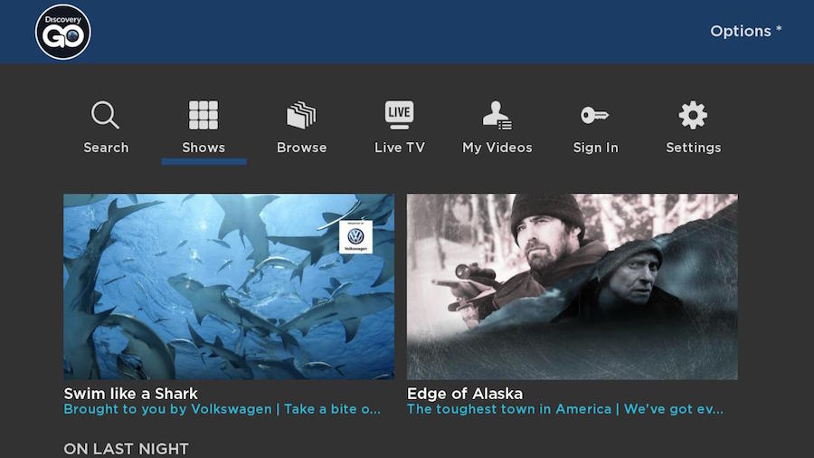 Discovery Go on Roku Home Screen
