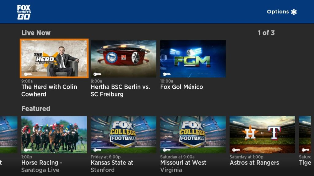 FOX Sports GO on Roku home screen