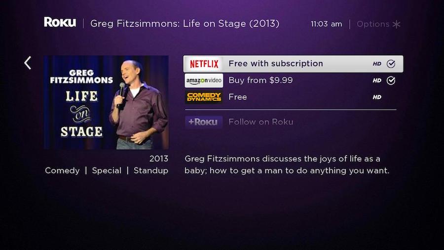 Roku Search Comedy Greg Fitzsimmons