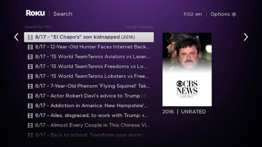Roku Search date news