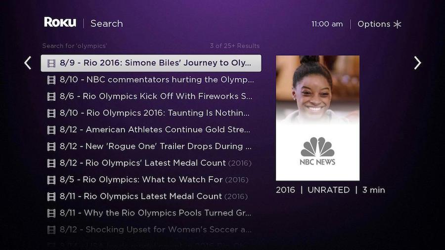 Roku Search news Olympics