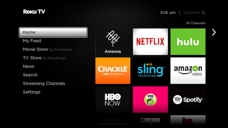 Roku TV antenna home screen