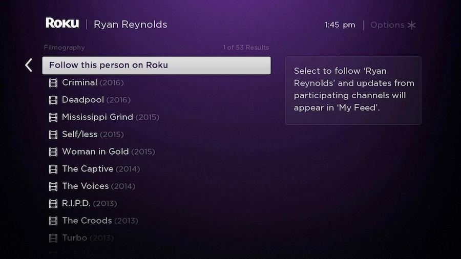Ryan Reynolds Follow on Roku