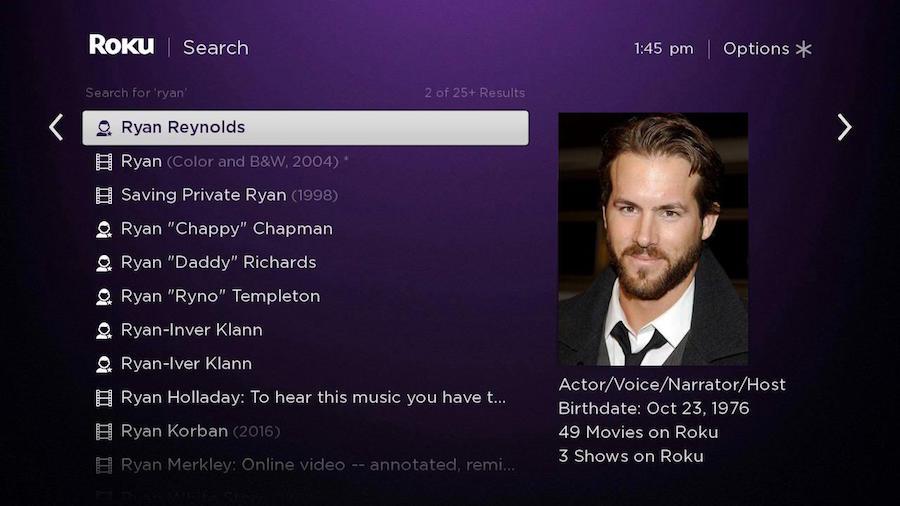 Ryan Reynolds Roku Search