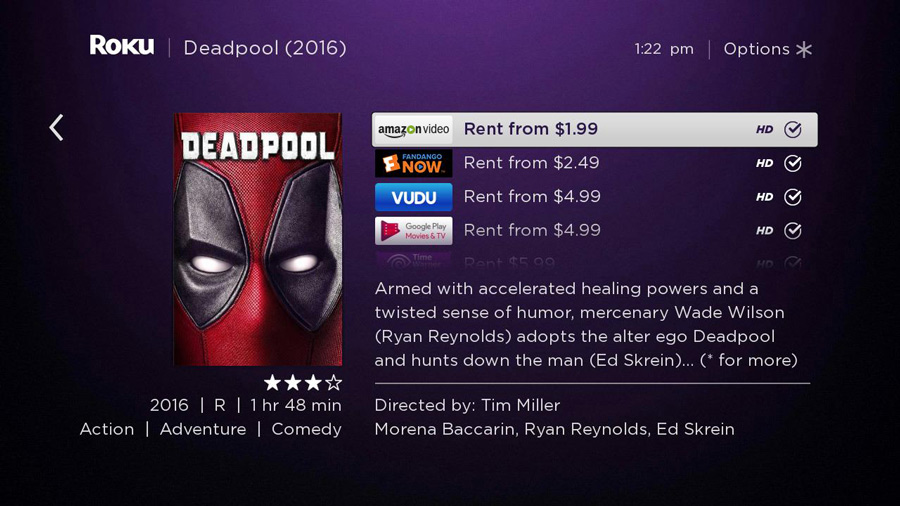 Watch Deadpool on roku