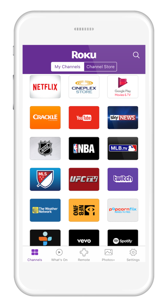 Roku Mobile App iOS Android_My Channels_CA