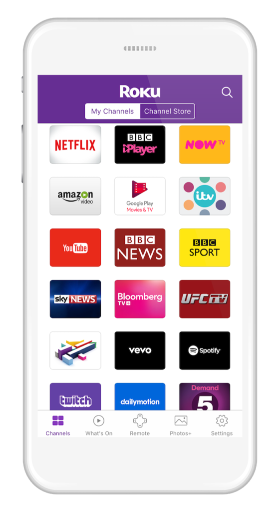 Roku Mobile App iOS Android_My Channels_UK