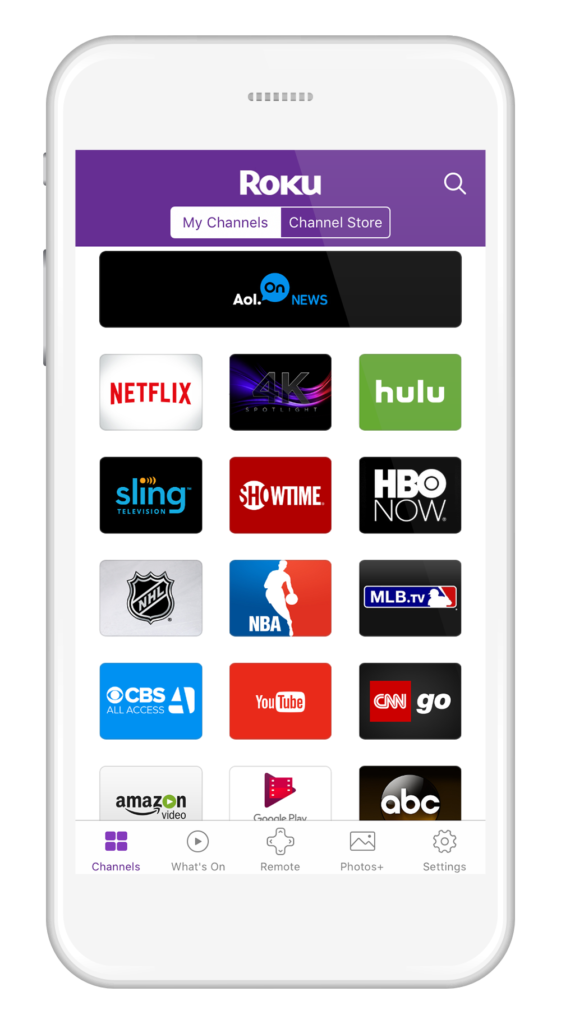 Roku mobile app iOS Android My Channels