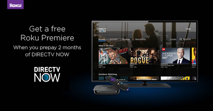 prepay for 2 months of directv now get a free roku premiere