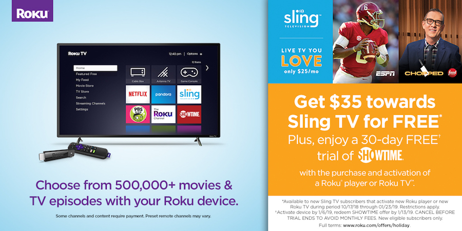 Roku Sling TV Showtime promo 2018