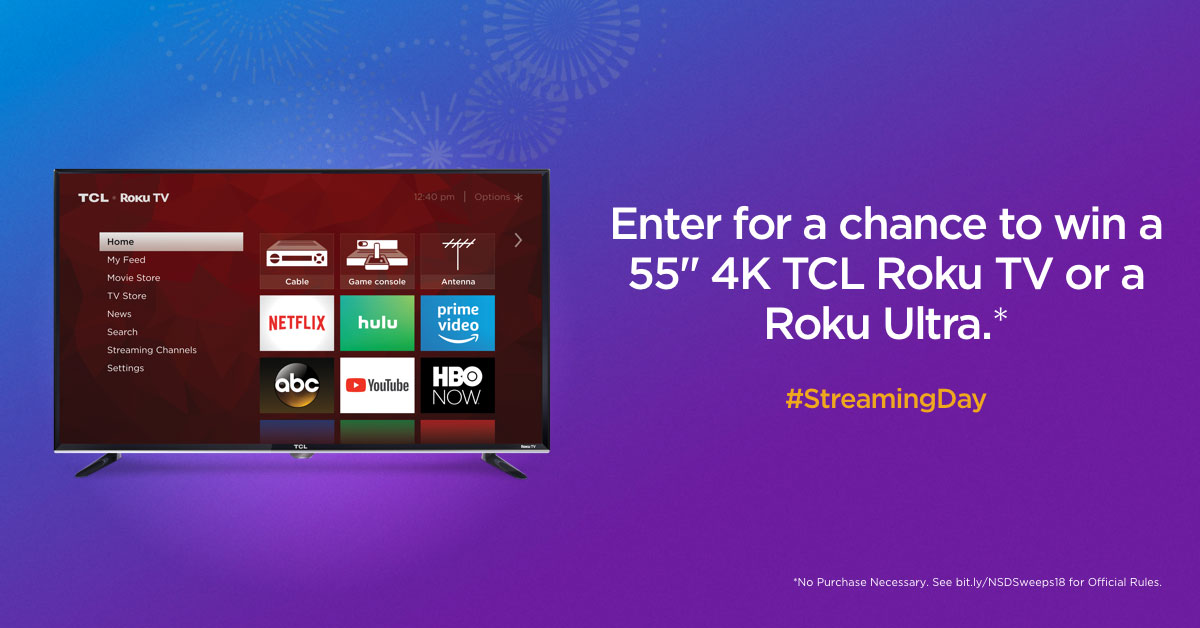 Enter for a chance to win a 55″ TCL Roku TV for #StreamingDay!