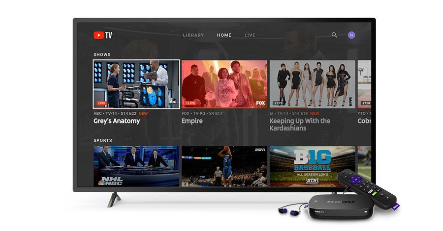 YouTube TV on Roku home screen