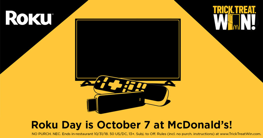 win a roku at mcdonalds trick treat win