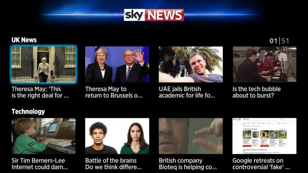 Free news channels in the UK channel store
