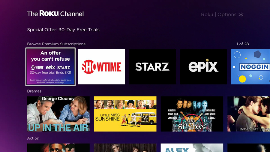 Limited time offer on The Roku Channel: 30-day free trials