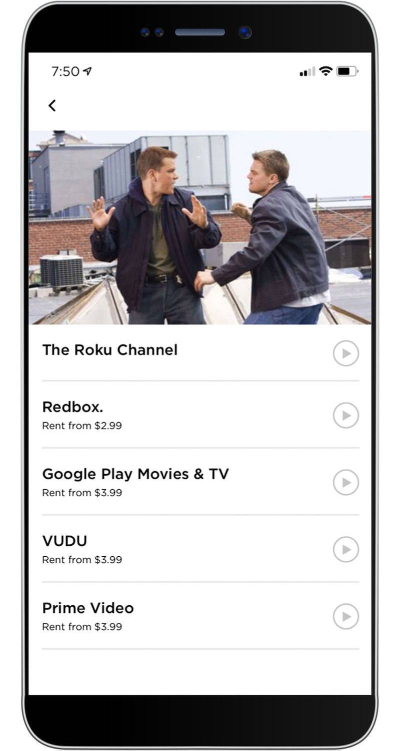 Roku mobile app search results The Departed