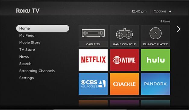 Roku home screen layout