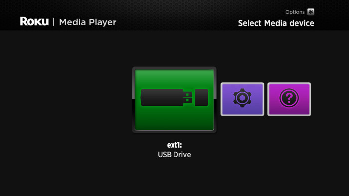 Roku Media Player device selection screen