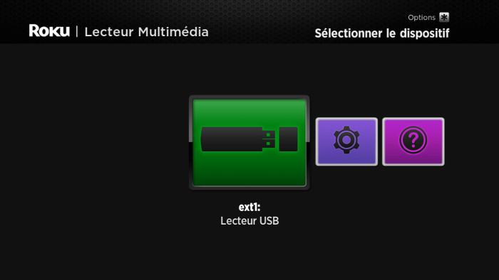 Écran de sélection de Roku Media Player