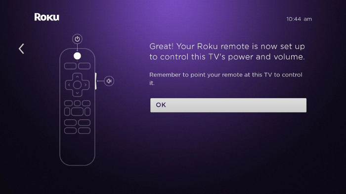 How do I set up my Roku® enhanced remote to control my TV
