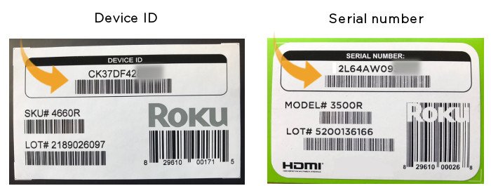How do I find the serial number or device ID for my Roku