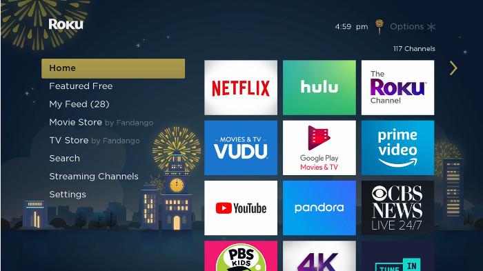 How do I change the theme to adjust the look of the Roku® interface