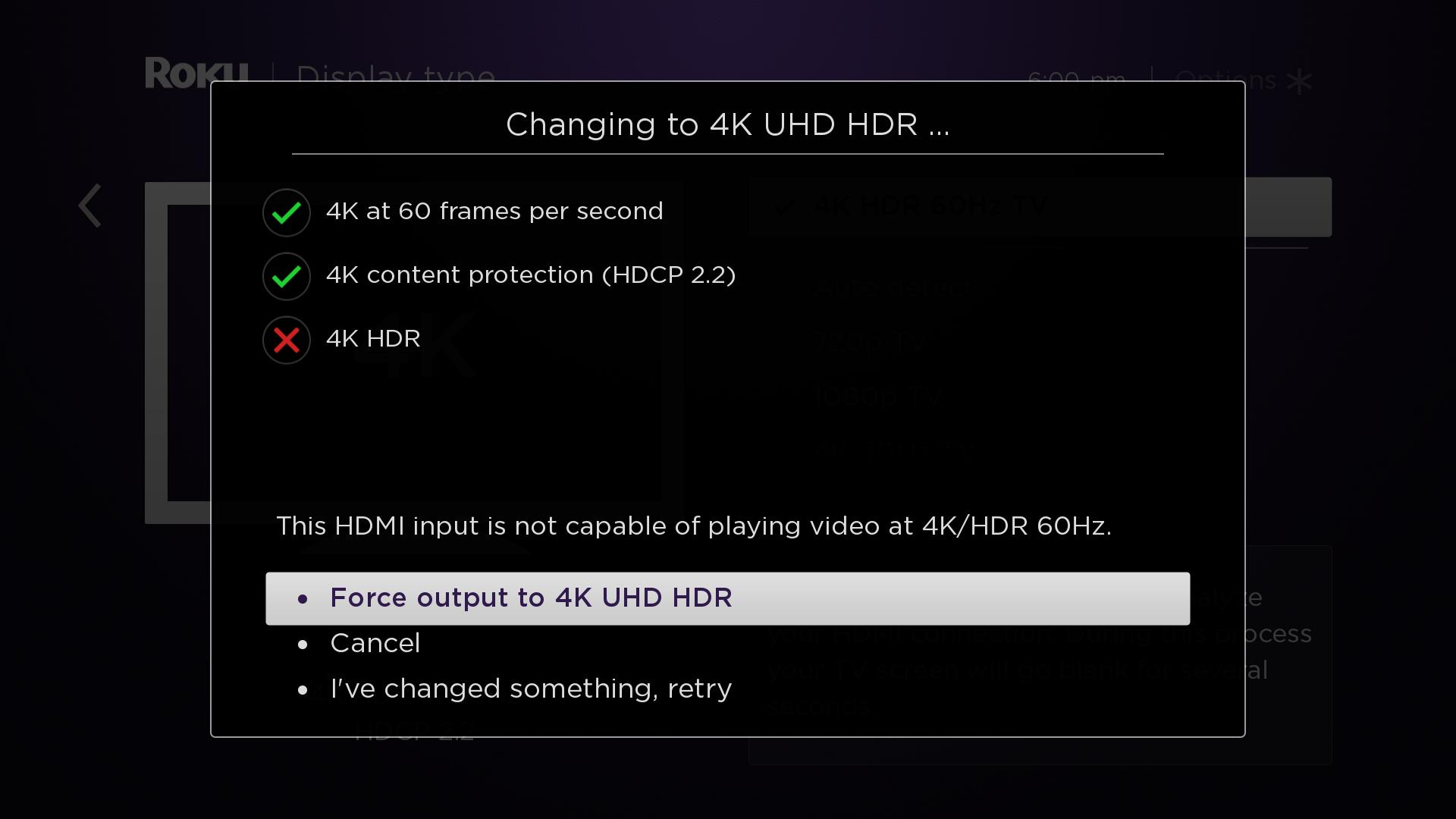 How do I change the display type on my Roku® streaming player