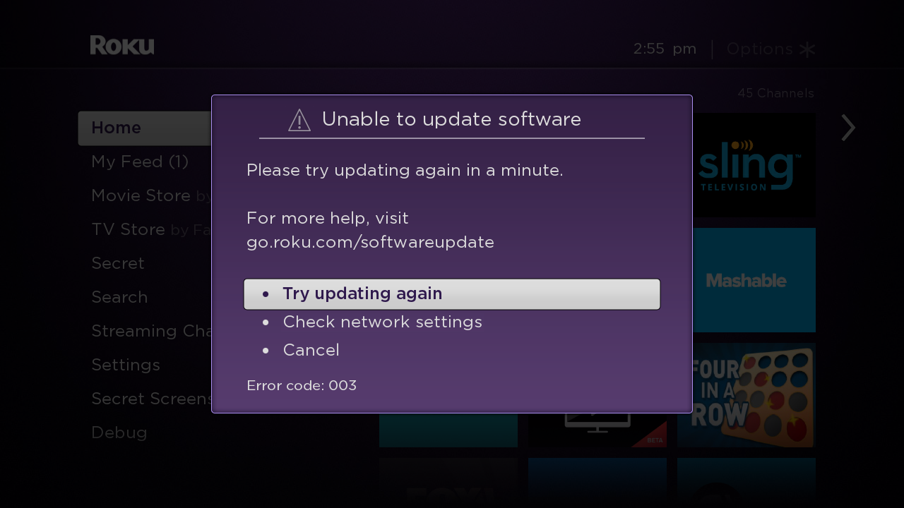 What should I do if my Roku® device is unable to update