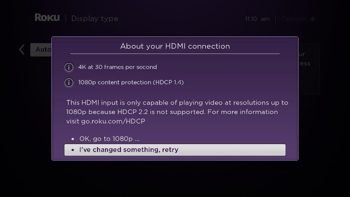 About your HDMI connection on your Roku device