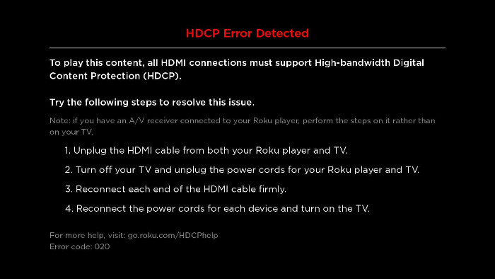 hdcp error detected message on HDMI on Roku device