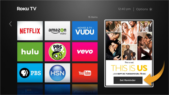 Advertisement reminder on home screen of Roku device