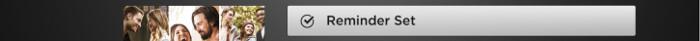 Reminder set option on Roku device