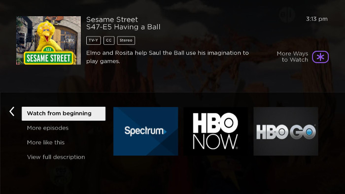 Smart Guide with More Ways to Watch viewing option on Roku TV